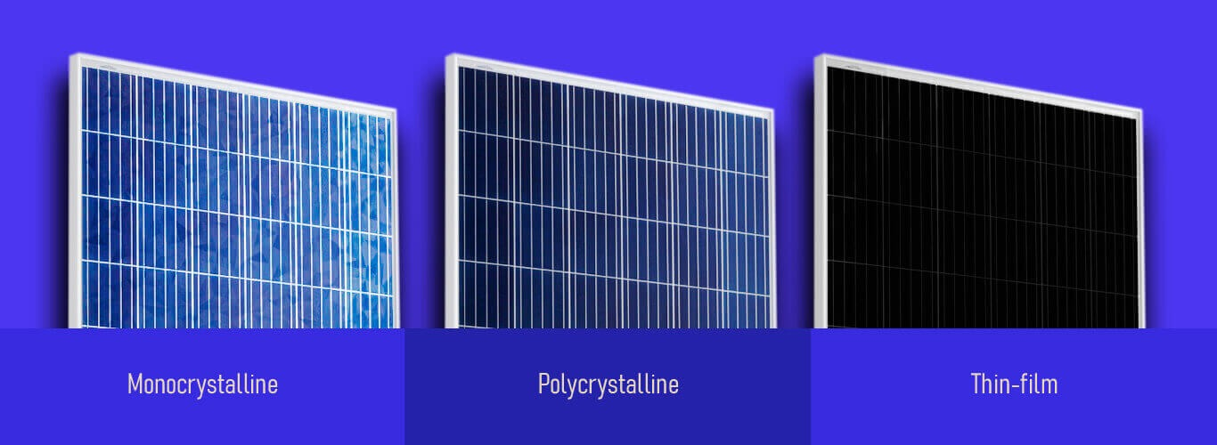 types of solar panels - monocrystalline polycrystalline thin film